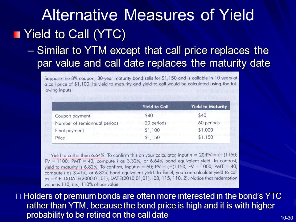 10-30 Alternative Measures of Yield Yield to Call (YTC) –Similar to YTM except that call price replaces the par value and call date replaces the matur