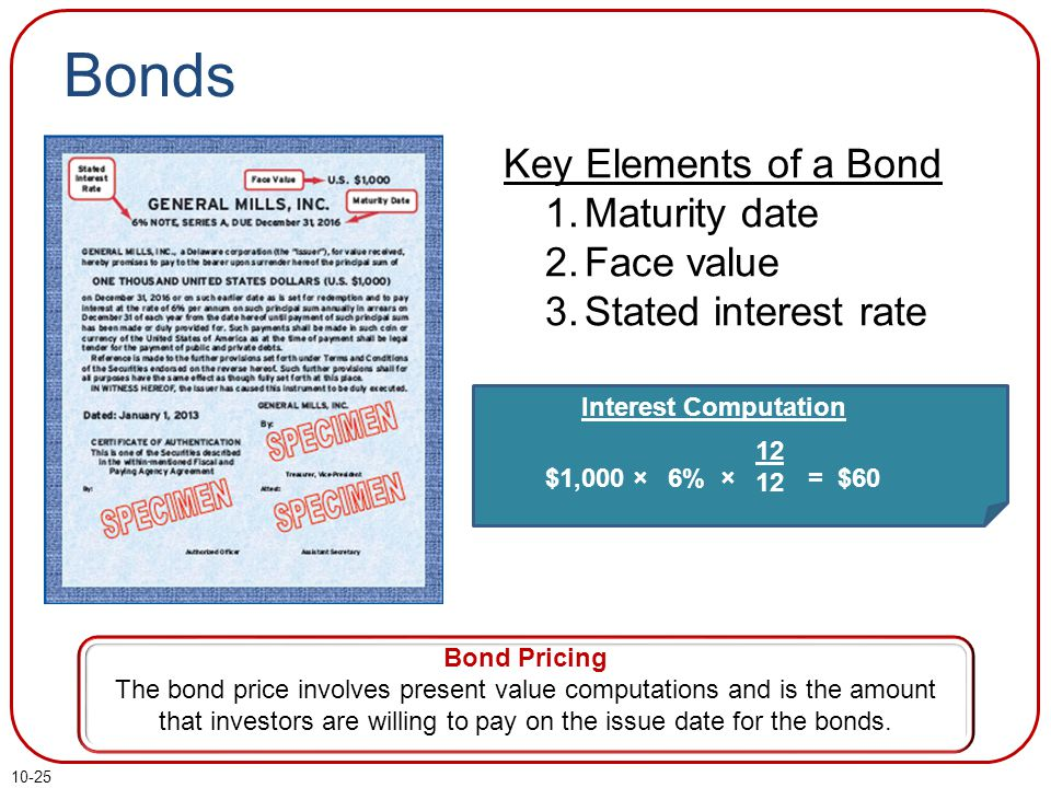 10-25 Bonds Bond Pricing The bond price involves present value computations and is the amount that investors are willing to pay on the issue date for the bonds.