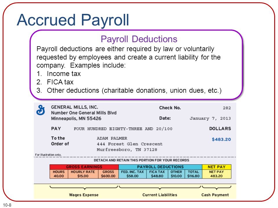 10-8 Accrued Payroll Payroll Liabilities 1.Payroll Deductions 2.Employer Payroll Taxes Payroll Deductions Payroll deductions are either required by law or voluntarily requested by employees and create a current liability for the company.