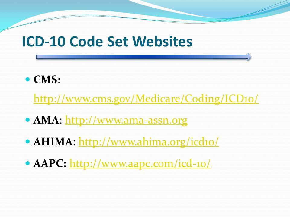 ICD-10 Code Set Websites CMS: http://www.cms.gov/Medicare/Coding/ICD10/ http://www.cms.gov/Medicare/Coding/ICD10/ AMA: http://www.ama-assn.orghttp://www.ama-assn.org AHIMA: http://www.ahima.org/icd10/http://www.ahima.org/icd10/ AAPC: http://www.aapc.com/icd-10/http://www.aapc.com/icd-10/
