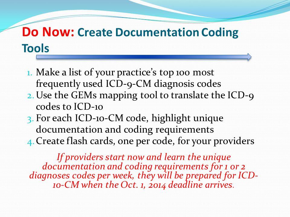 Do Now: Create Documentation Coding Tools 1.