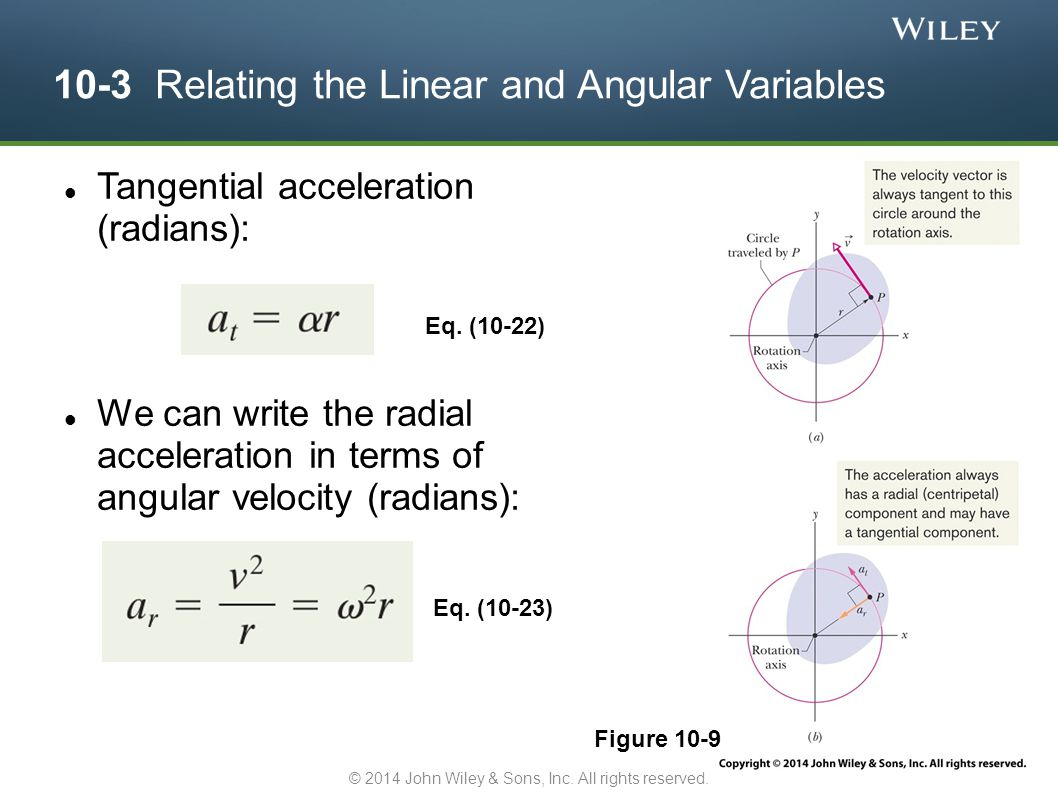 10-3 Relating the Linear and Angular Variables Tangential acceleration (radians): We can write the radial acceleration in terms of angular velocity (r