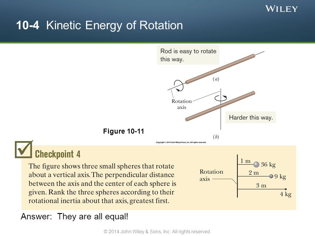 10-4 Kinetic Energy of Rotation Figure 10-11 Answer: They are all equal! © 2014 John Wiley & Sons, Inc. All rights reserved.