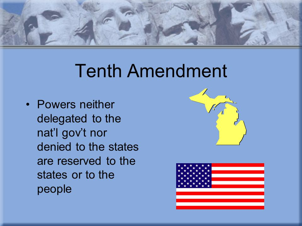 Tenth Amendment Powers neither delegated to the nat'l gov't nor denied to the states are reserved to the states or to the people