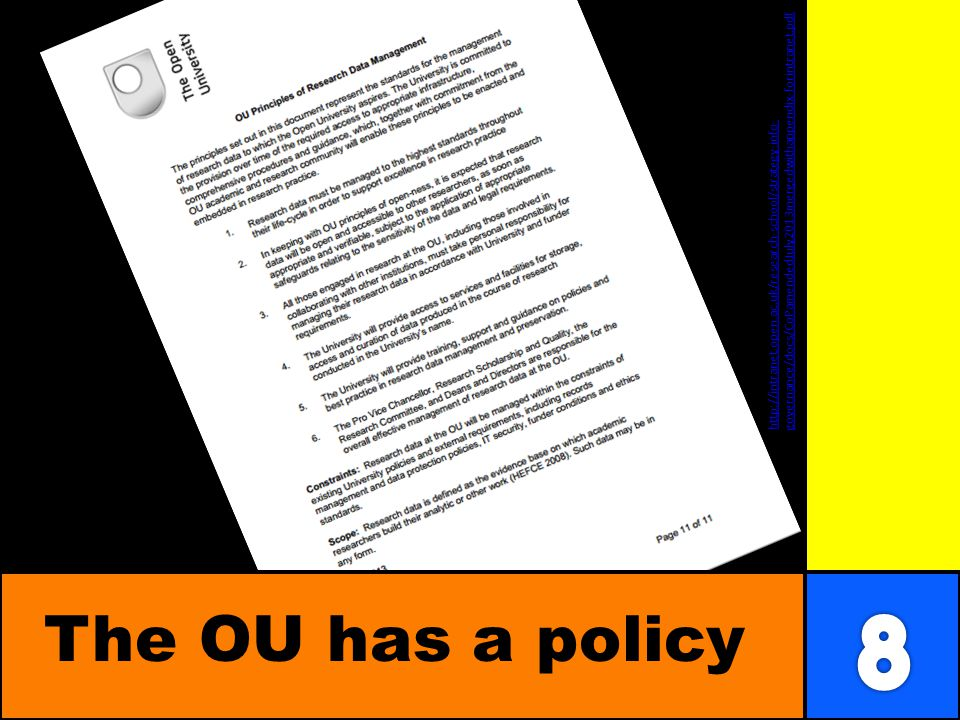 The OU has a policy http://intranet.open.ac.uk/research-school/strategy-info- governance/docs/CoPamendedJuly2013mergedwithappendix-forintranet.pdf