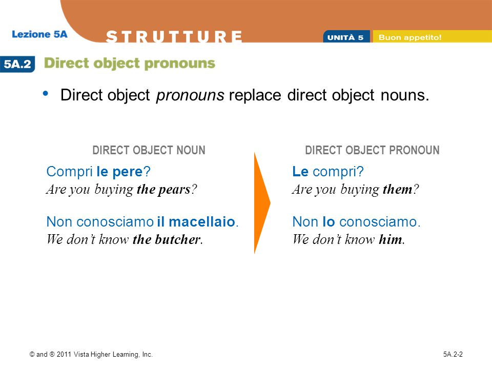 © and ® 2011 Vista Higher Learning, Inc.5A.2-2 Direct object pronouns replace direct object nouns. DIRECT OBJECT NOUNDIRECT OBJECT PRONOUN Compri le p
