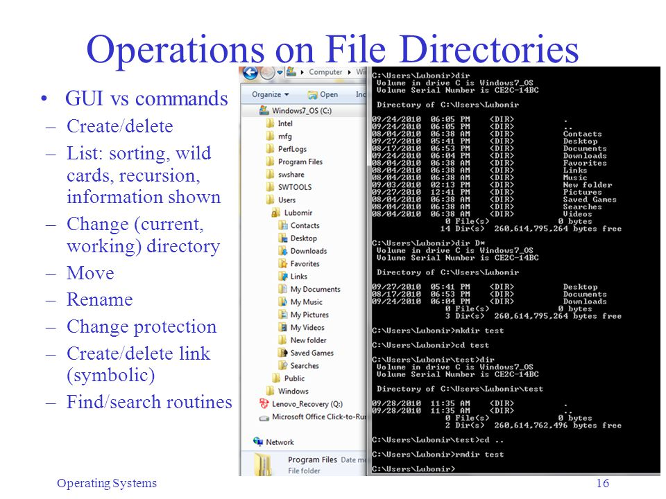 Operating Systems17 Implementation of Directories What information to keep in each entry –All descriptive information Directory can become very large Searches are difficult/slow –Only symbolic name and pointer to descriptor Needs an extra disk access to descriptor Variable name length.