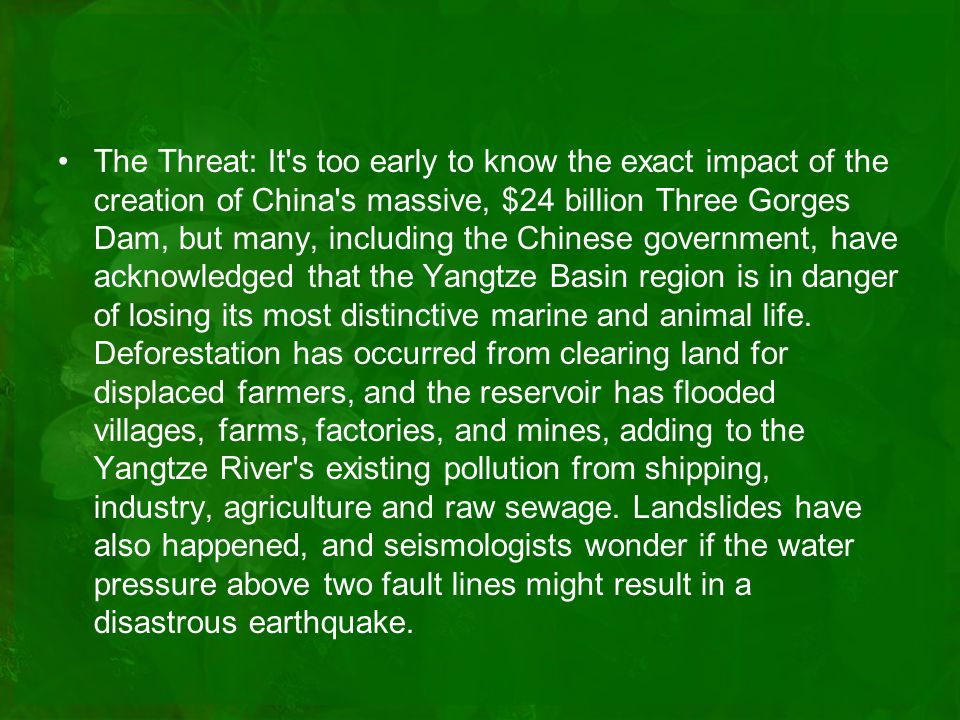 The Threat: It s too early to know the exact impact of the creation of China s massive, $24 billion Three Gorges Dam, but many, including the Chinese government, have acknowledged that the Yangtze Basin region is in danger of losing its most distinctive marine and animal life.