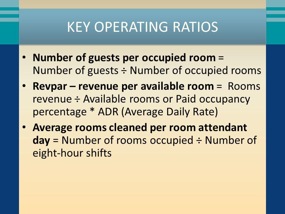KEY OPERATING RATIOS Number of guests per occupied room = Number of guests ÷ Number of occupied rooms Revpar – revenue per available room = Rooms reve