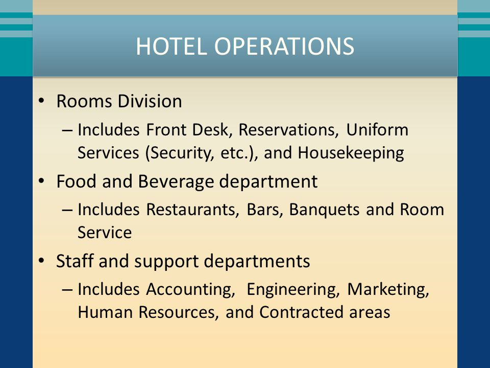 ROOMS DIVISION The Rooms Division is the heart of the hotel It is the main business of the hotel and the main source of revenue Rooms can contribute 70 percent or more to overall revenue and even more to profit