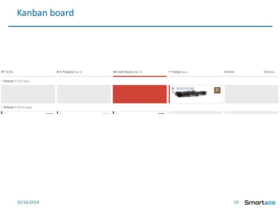 19 10/16/2014 Kanban board