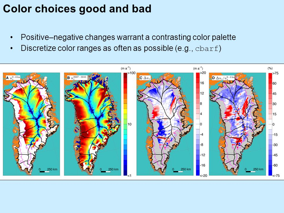 Color choices good and bad Positive–negative changes warrant a contrasting color palette Discretize color ranges as often as possible (e.g., cbarf )
