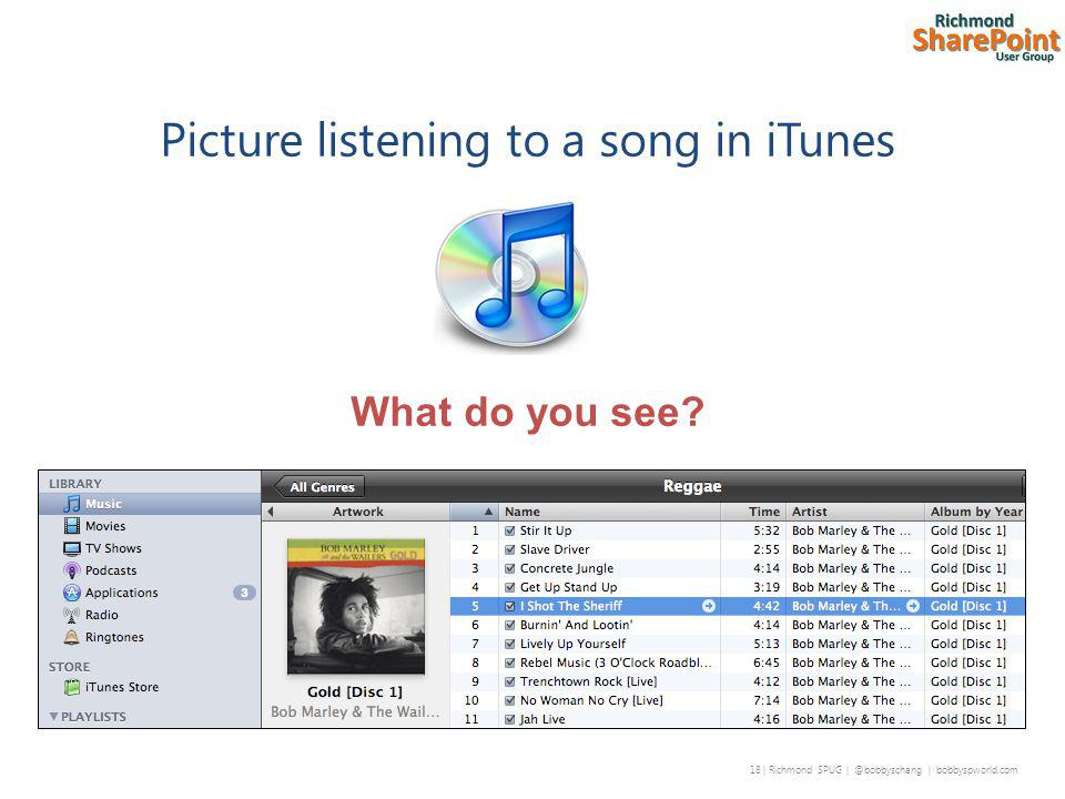 18 | Richmond SPUG | @bobbyschang | bobbyspworld.com Picture listening to a song in iTunes What do you see