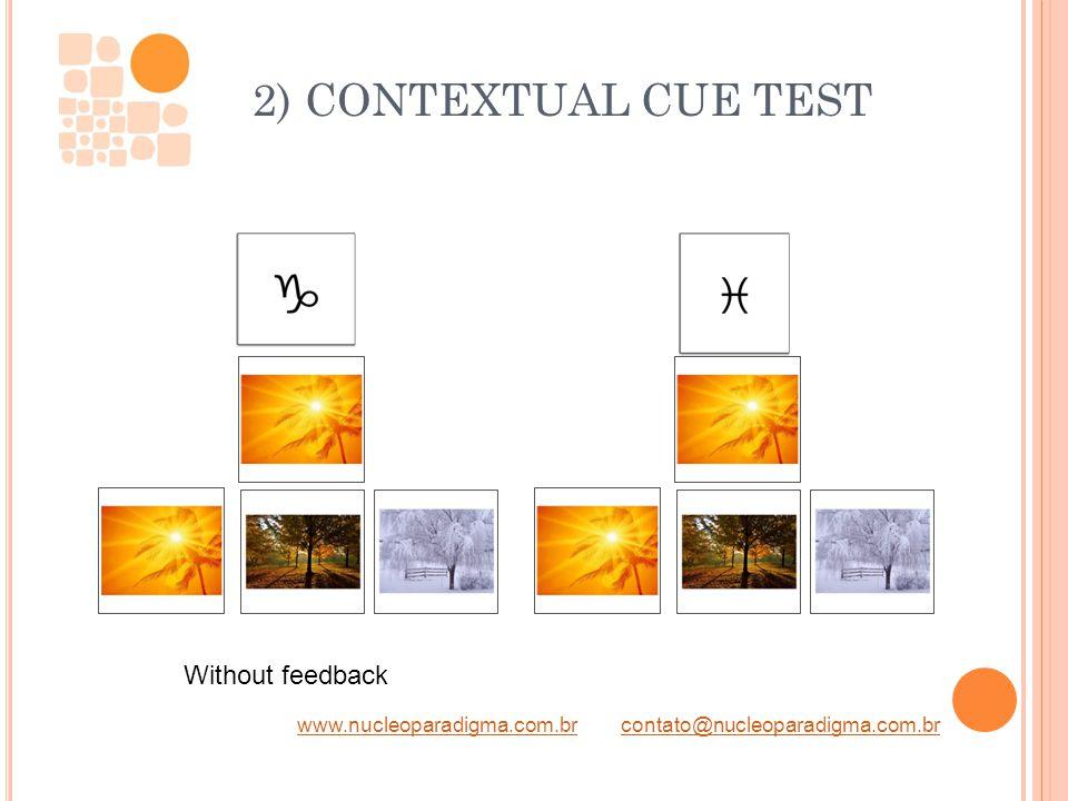 www.nucleoparadigma.com.brwww.nucleoparadigma.com.br contato@nucleoparadigma.com.brcontato@nucleoparadigma.com.br 2) CONTEXTUAL CUE TEST Without feedb