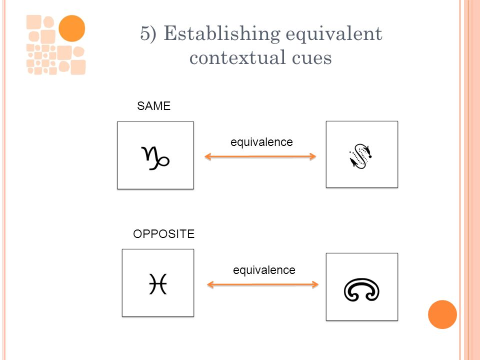 5) Establishing equivalent contextual cues SAME equivalence OPPOSITE