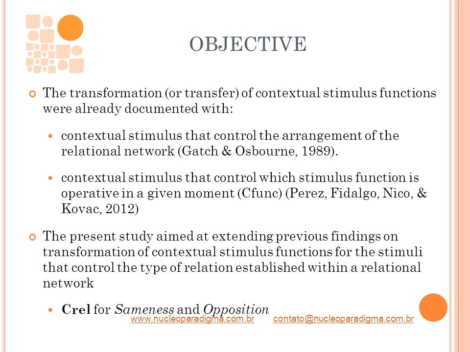 www.nucleoparadigma.com.brwww.nucleoparadigma.com.br contato@nucleoparadigma.com.brcontato@nucleoparadigma.com.br OBJECTIVE The transformation (or transfer) of contextual stimulus functions were already documented with: contextual stimulus that control the arrangement of the relational network (Gatch & Osbourne, 1989).