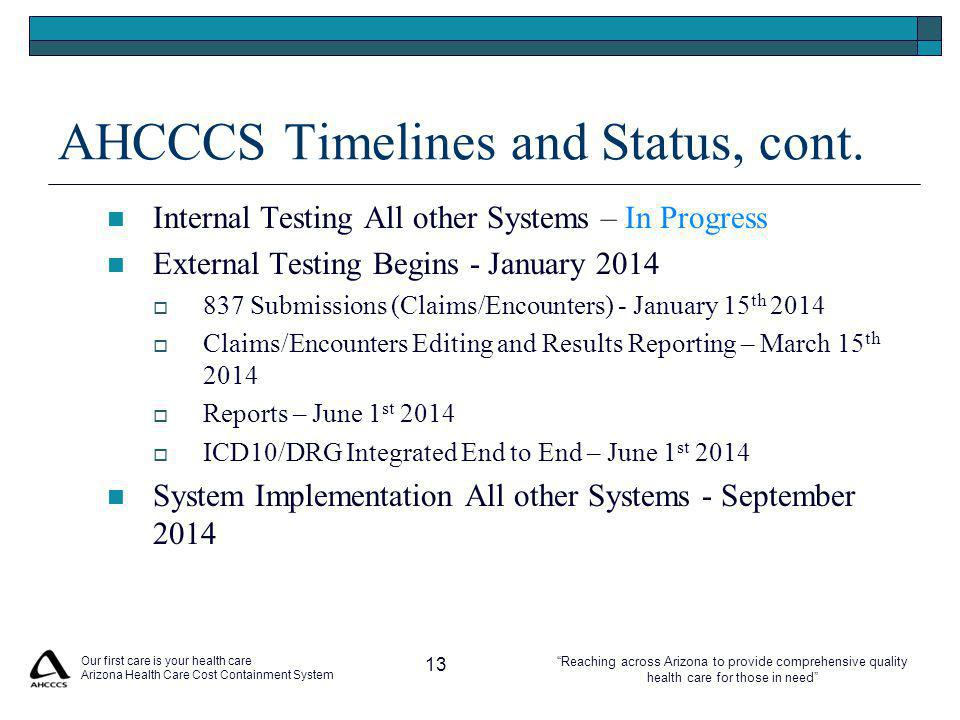 Reaching across Arizona to provide comprehensive quality health care for those in need AHCCCS Timelines and Status, cont.