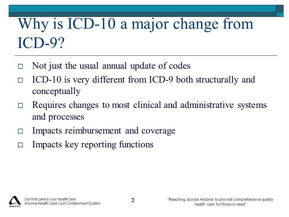 Reaching across Arizona to provide comprehensive quality health care for those in need Our first care is your health care Arizona Health Care Cost Containment System 3 Why is ICD-10 a major change from ICD-9.