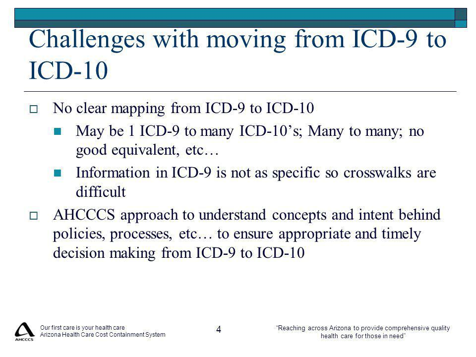 Reaching across Arizona to provide comprehensive quality health care for those in need Our first care is your health care Arizona Health Care Cost Containment System 4 Challenges with moving from ICD-9 to ICD-10  No clear mapping from ICD-9 to ICD-10 May be 1 ICD-9 to many ICD-10's; Many to many; no good equivalent, etc… Information in ICD-9 is not as specific so crosswalks are difficult  AHCCCS approach to understand concepts and intent behind policies, processes, etc… to ensure appropriate and timely decision making from ICD-9 to ICD-10