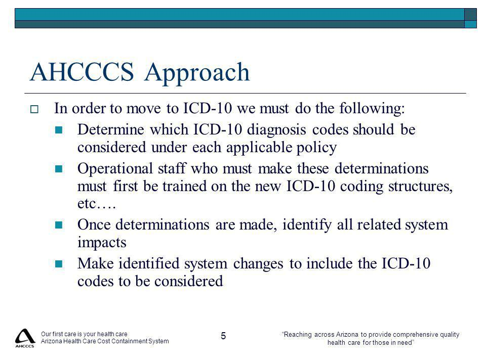 Reaching across Arizona to provide comprehensive quality health care for those in need AHCCCS Approach  In order to move to ICD-10 we must do the following: Determine which ICD-10 diagnosis codes should be considered under each applicable policy Operational staff who must make these determinations must first be trained on the new ICD-10 coding structures, etc….