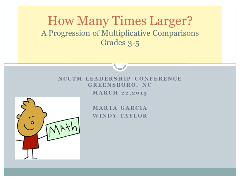 NCCTM LEADERSHIP CONFERENCE GREENSBORO, NC MARCH 22,2013 MARTA GARCIA WINDY TAYLOR How Many Times Larger.