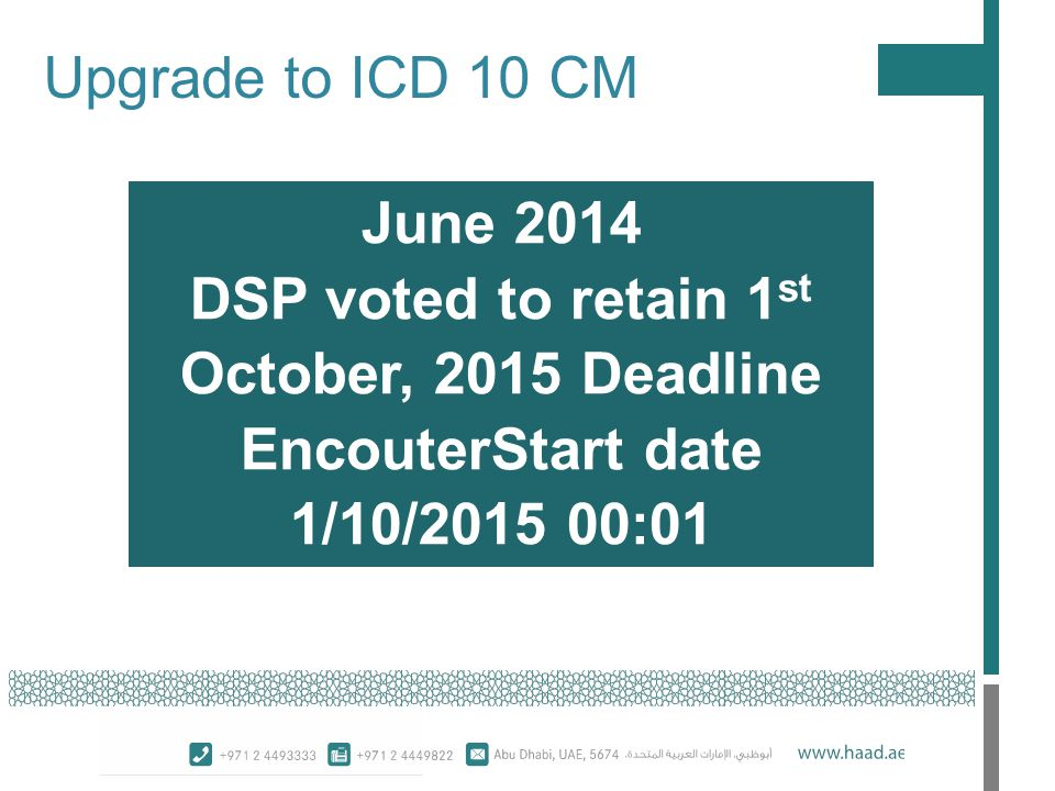 Upgrade to ICD 10 CM June 2014 DSP voted to retain 1 st October, 2015 Deadline EncouterStart date 1/10/2015 00:01