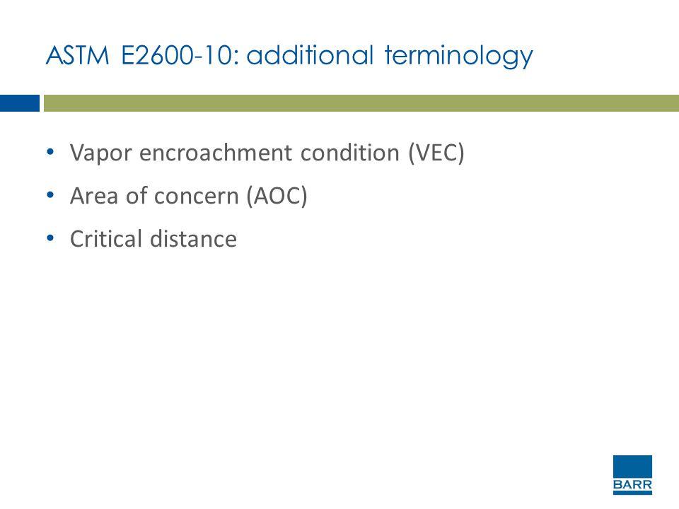 ASTM E2600-10: additional terminology Vapor encroachment condition (VEC) Area of concern (AOC) Critical distance