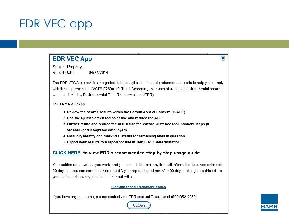 EDR VEC app