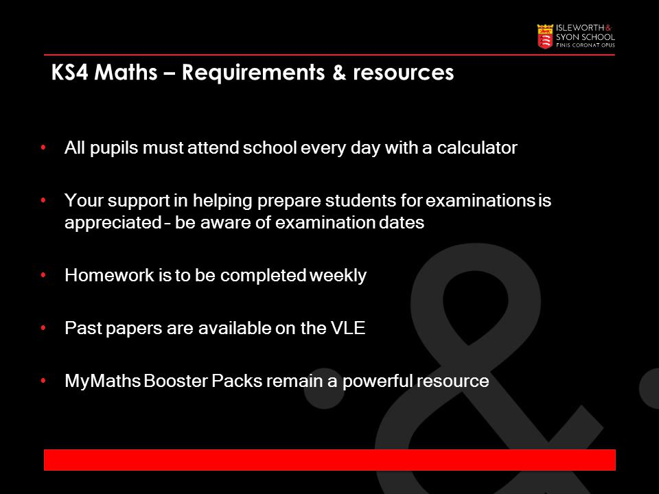 KS4 Maths – Requirements & resources All pupils must attend school every day with a calculator Your support in helping prepare students for examinations is appreciated – be aware of examination dates Homework is to be completed weekly Past papers are available on the VLE MyMaths Booster Packs remain a powerful resource