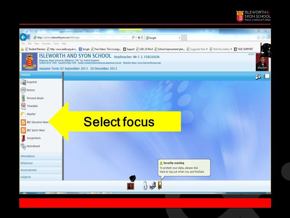 Select focus