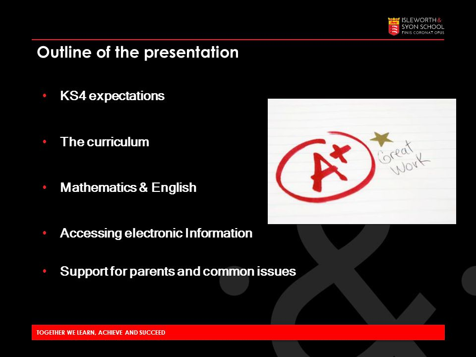 Outline of the presentation KS4 expectations The curriculum Mathematics & English Accessing electronic Information Support for parents and common issues TOGETHER WE LEARN, ACHIEVE AND SUCCEED
