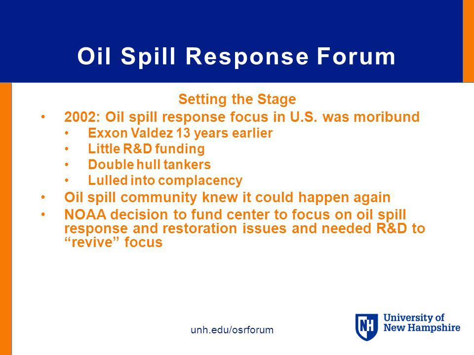 unh.edu/osrforum Oil Spill Response Forum Setting the Stage 2002: Oil spill response focus in U.S.