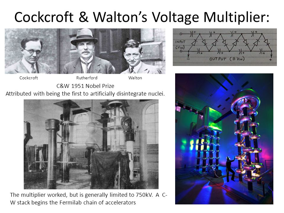 Cockcroft & Walton's Voltage Multiplier: CockcroftWaltonRutherford The multiplier worked, but is generally limited to 750kV.