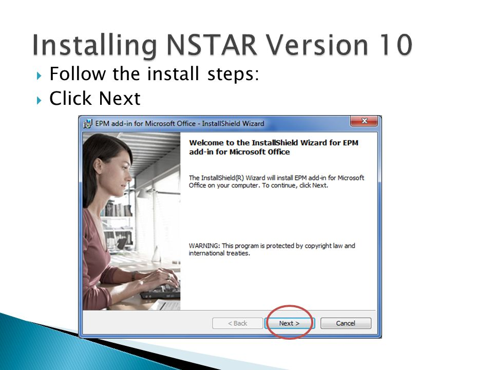  Follow the install steps:  Click Next