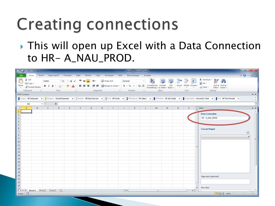  This will open up Excel with a Data Connection to HR- A_NAU_PROD.