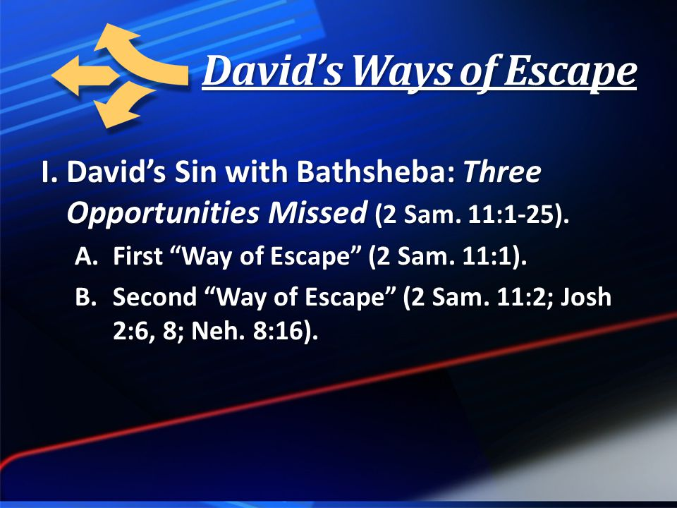 David's Ways of Escape I. David's Sin with Bathsheba: Three Opportunities Missed (2 Sam.