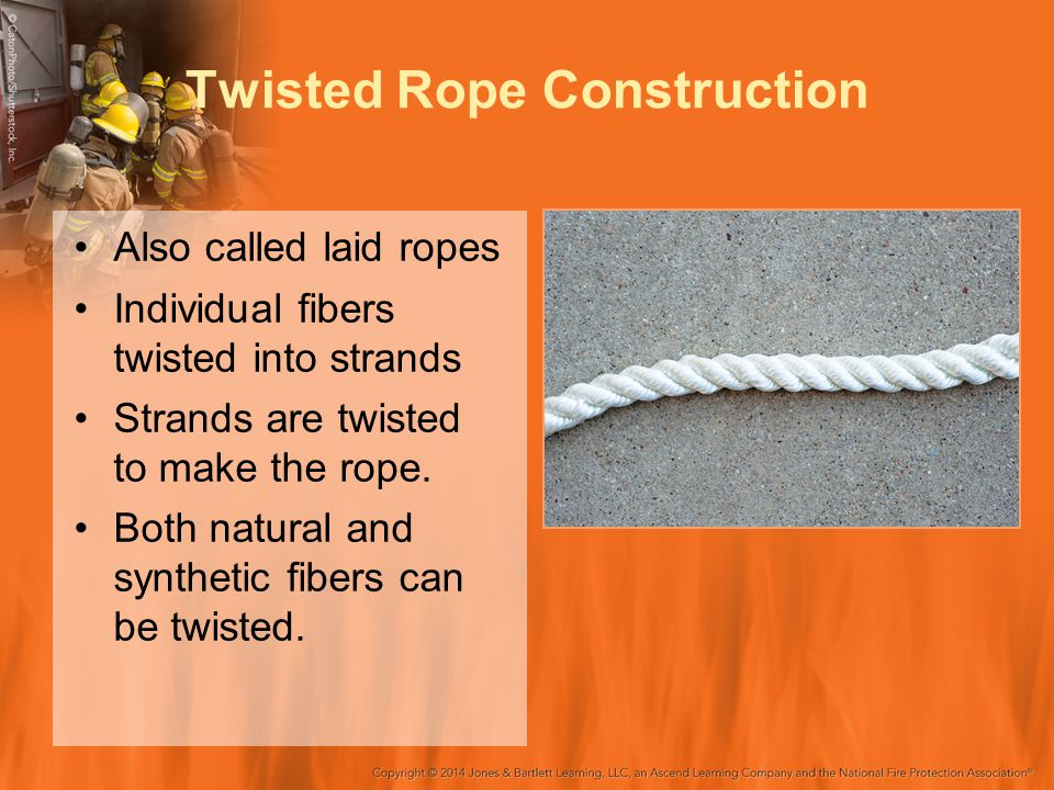 Twisted Rope Construction Also called laid ropes Individual fibers twisted into strands Strands are twisted to make the rope. Both natural and synthet