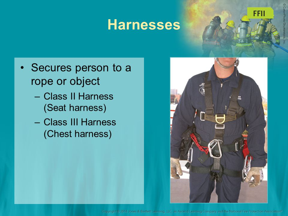 Harnesses Secures person to a rope or object –Class II Harness (Seat harness) –Class III Harness (Chest harness)
