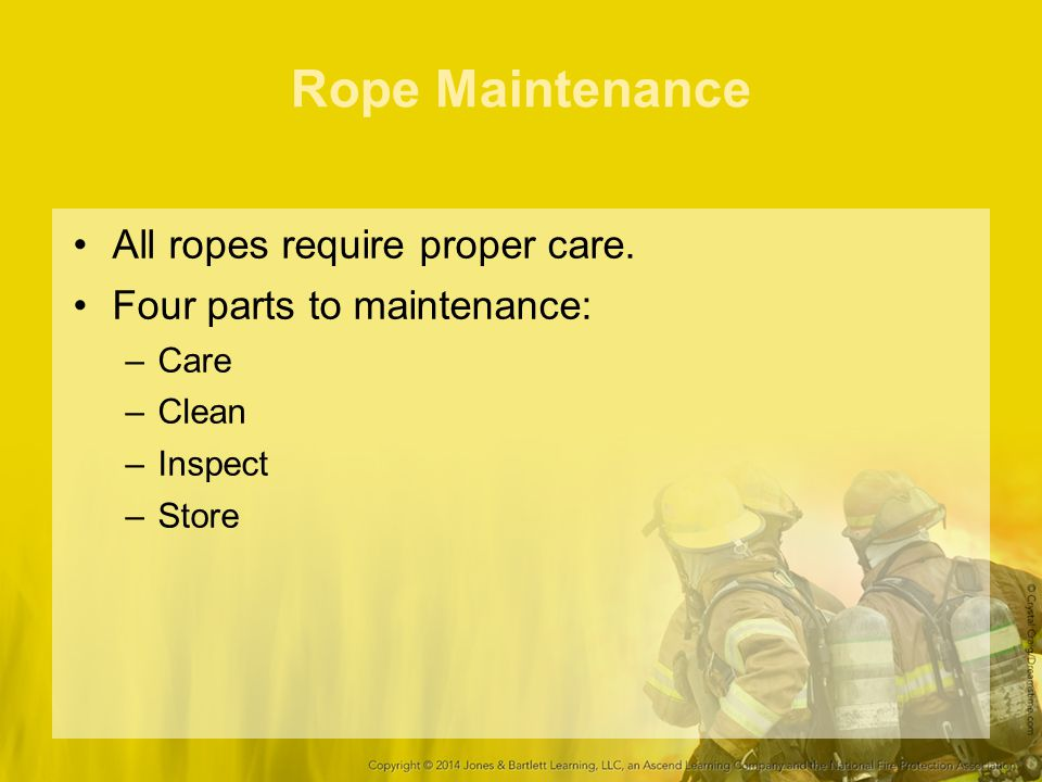 Rope Maintenance All ropes require proper care.