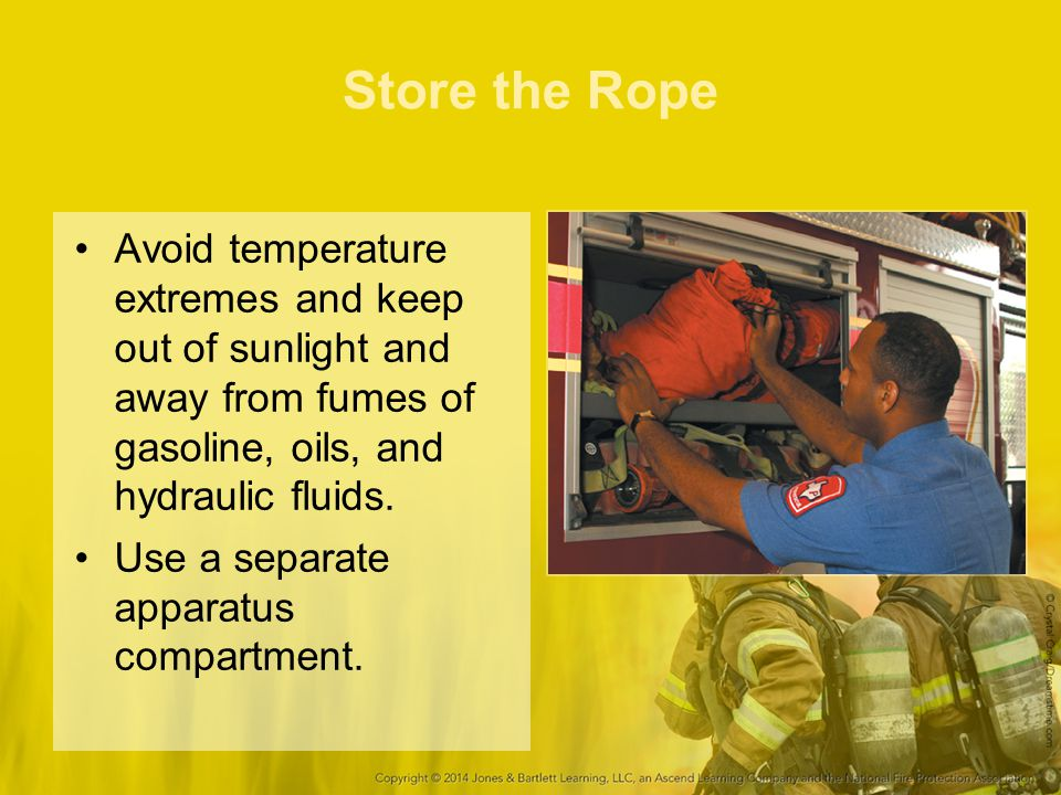 Store the Rope Avoid temperature extremes and keep out of sunlight and away from fumes of gasoline, oils, and hydraulic fluids. Use a separate apparat