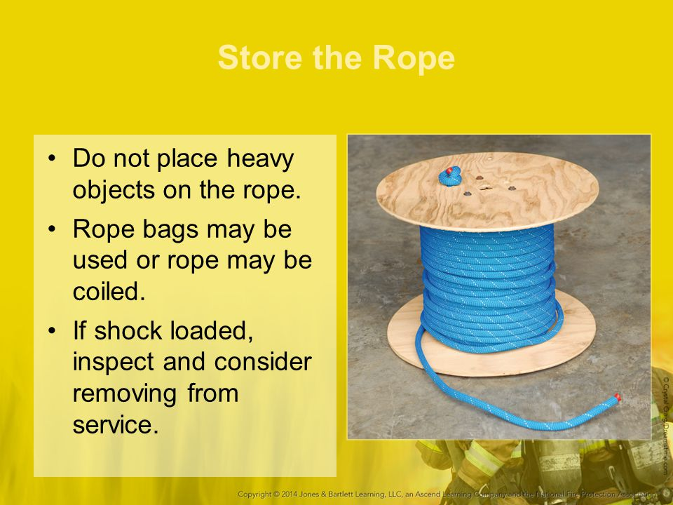 Store the Rope Do not place heavy objects on the rope.
