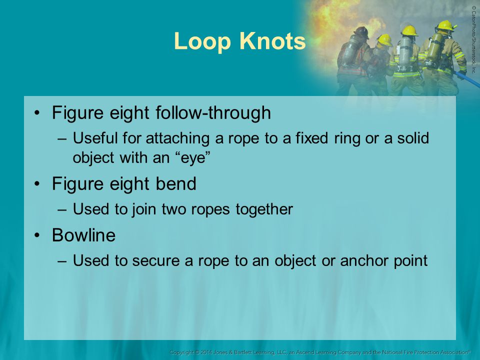 Loop Knots Figure eight follow-through –Useful for attaching a rope to a fixed ring or a solid object with an eye Figure eight bend –Used to join two ropes together Bowline –Used to secure a rope to an object or anchor point