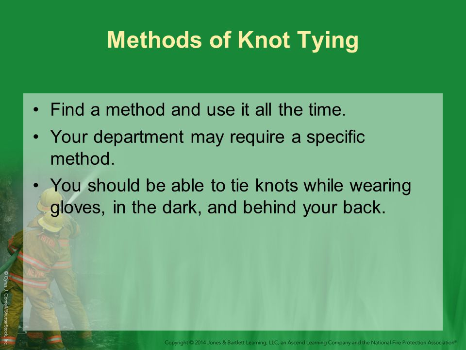 Methods of Knot Tying Find a method and use it all the time.