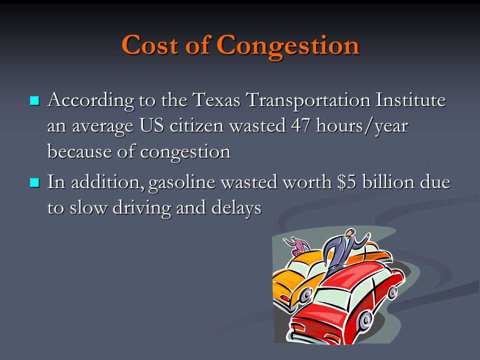 The cost of travel Two average cost curves: 2 lane road and 4 lane road As we move to a 4 lane road PTC declines due to reduced congestion