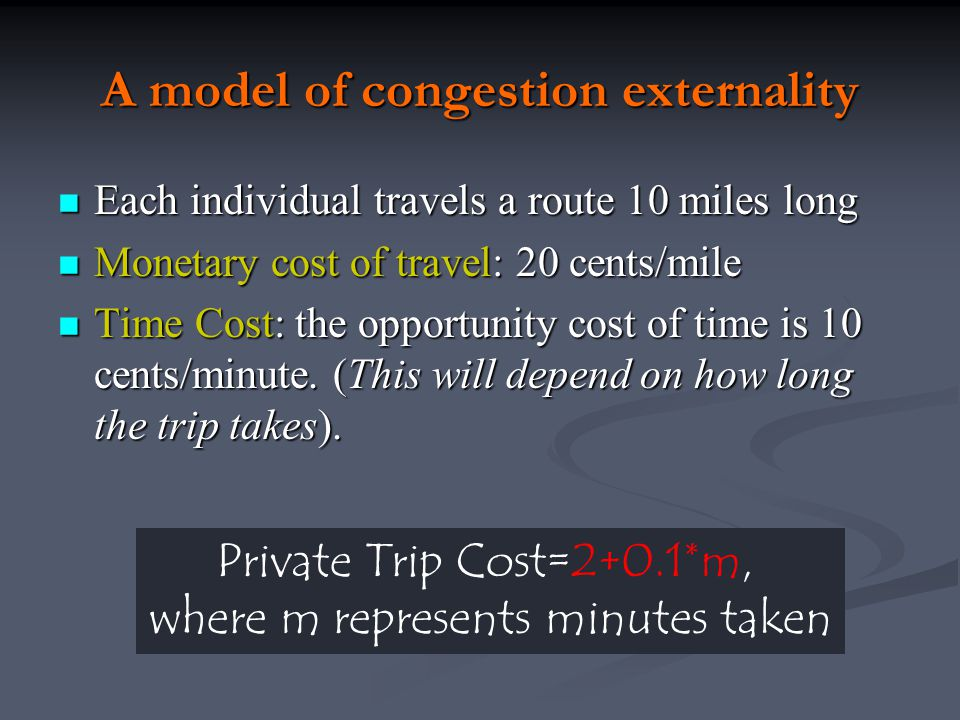 Congestion Taxes and Urban Growth Point i: two identical cities Point i: two identical cities Congestion tax in one city reduces diseconomies of scale, shifting utility curve upward Congestion tax in one city reduces diseconomies of scale, shifting utility curve upward Immediate effect is utility gap: points j and i Immediate effect is utility gap: points j and i Migration to congestion-tax city Migration to congestion-tax city Result: congestion tax city grows at expense of the other city, but both benefit from the congestion tax Result: congestion tax city grows at expense of the other city, but both benefit from the congestion tax