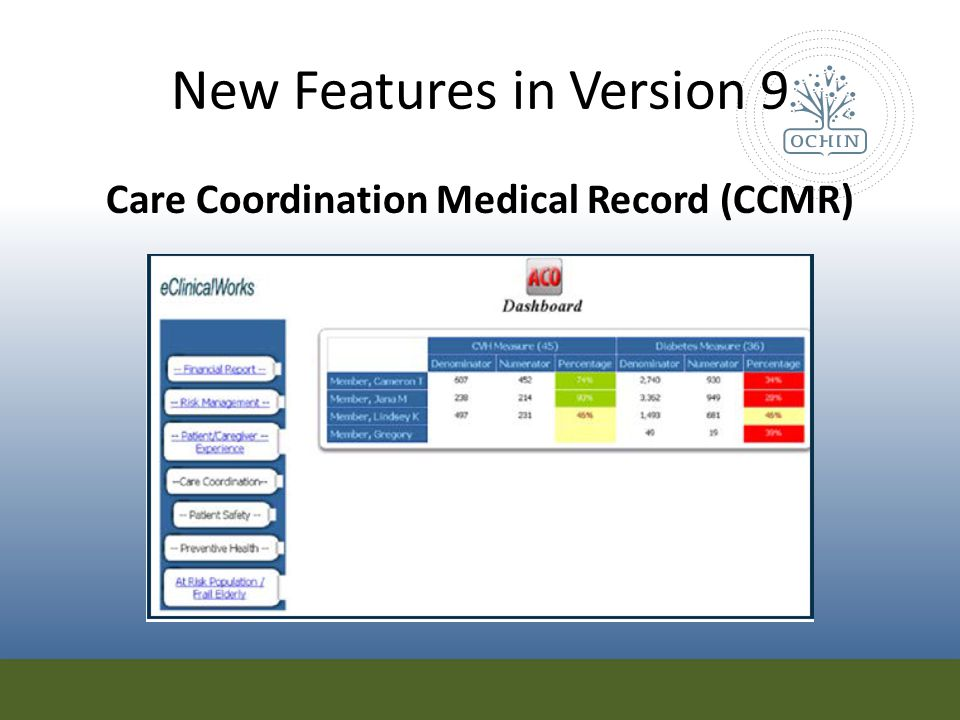 New Features in Version 9 Care Coordination Medical Record (CCMR)