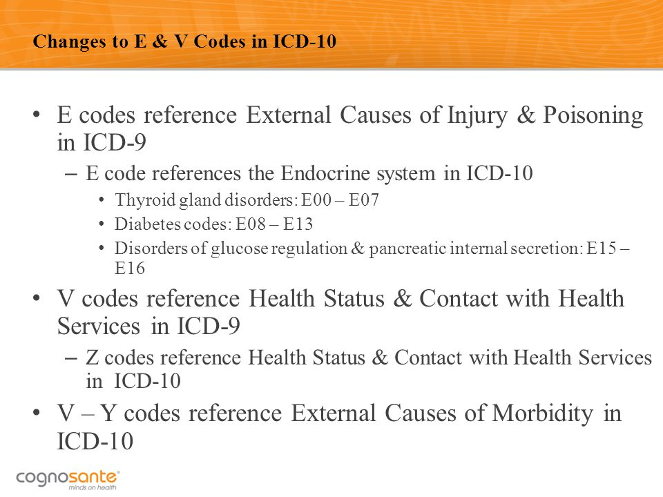 38 Changes to E & V Codes in ICD-10 E codes reference External Causes of Injury & Poisoning in ICD-9 – E code references the Endocrine system in ICD-1