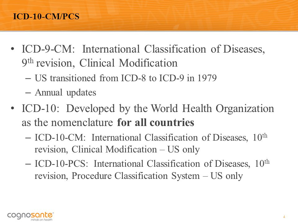 ICD-9-CM: International Classification of Diseases, 9 th revision, Clinical Modification – US transitioned from ICD-8 to ICD-9 in 1979 – Annual update