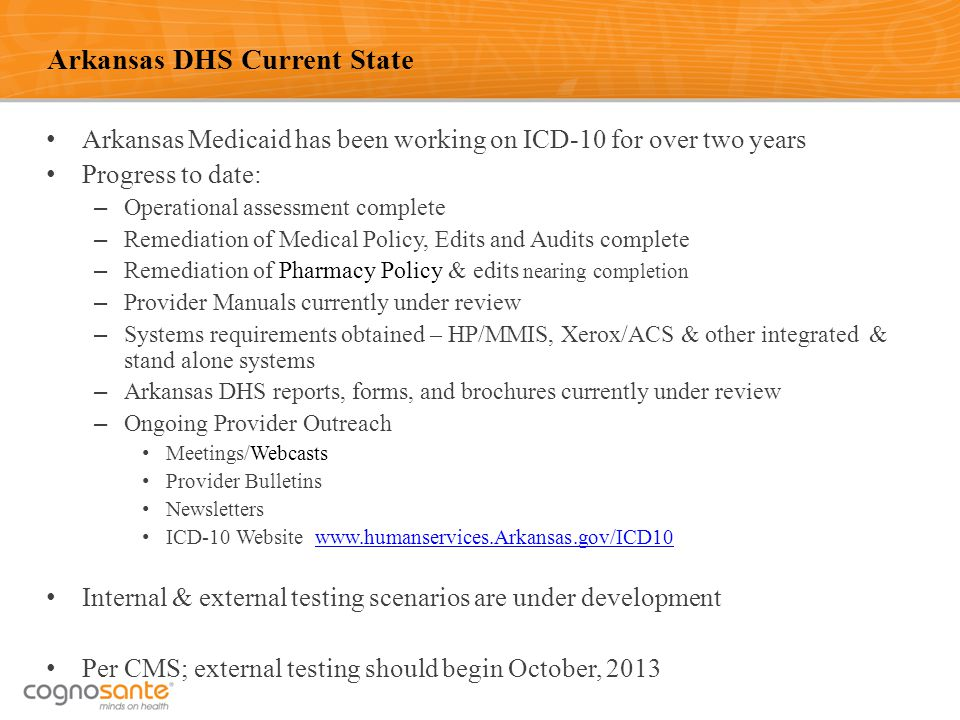 43 Arkansas DHS Current State Arkansas Medicaid has been working on ICD-10 for over two years Progress to date: – Operational assessment complete – Re