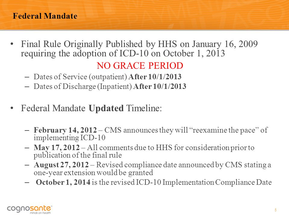 Final Rule Originally Published by HHS on January 16, 2009 requiring the adoption of ICD-10 on October 1, 2013 NO GRACE PERIOD – Dates of Service (out